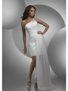 Sheath Monospalla Perline Plissè Mini Chiffon Prom Dresses