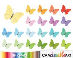 50 Butterfly Clipart,Rainbow Butterflies Clipart,Cute Butterflies,Scrapbooking,Invitation Clipart,Planner Clipart,Sticker Clipart,png file by CamDoodleArt on Etsy