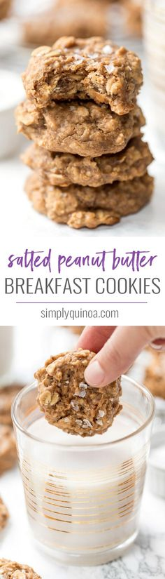 Healthy PEANUT BUTTER breakfast cookies -- made oats and quinoa flakes so they're high in protein and fiber! And finished with a sprinkle of sea salt flakes for added flavor! Simply Quinoa #breakfastcookies #quinoa #vegan #glutenfree #simplyquinoa