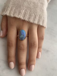 This incredible Black opal is set on Emily's thicker freeform band in a simple yellow gold bezel. Approximate stone size: x This ring is currently a size 7 but can be resized. Simple Diamond Ring, Grey Diamond Ring, Black Opal Ring, Silver Opal Ring, Black Opal Stone, Opal Rings, Black Rings, Yellow Gold Rings, Gemstone Rings
