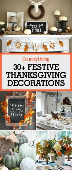 These beautiful Thanksgiving decor ideas will spruce up your home and your Thanksgiving table. If you love chalk painting furniture, just wait until you get your hands on some pumpkins! Greet your guests with this charming chalkboard door sign as an alternative for a fall wreath. Write a message to welcome everyone into your home.