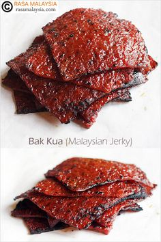 Bak Kua (Malaysian Jerky): or Malaysian version of jerky–little squares of dry-treated meat charcoal-grilled to perfection, with flavors so sublime words can't even begin to describe. Jerky Recipes, Meat Recipes, Asian Recipes, Cooking Recipes, Carne, Dehydrator Recipes, Pork Jerky Recipe Dehydrator, Malaysian Food, Beef Jerky