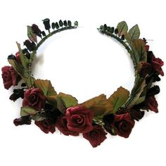 Wedding Tiara Red Roses Black leaves Winter bride Gothic green flora... ($35) ❤ liked on Polyvore featuring accessories, hair accessories, flower crowns, hair, head, flower hair accessories, green garland, bride hair accessories, bridal floral crown and flower garland