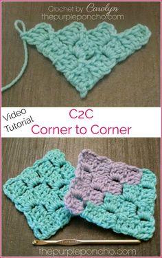 DIY Crochet Tutorial – Corner-To-Corner! – The Purple Poncho DIY Crochet Tutorial – Corner-To-Corner! – The Purple Poncho Best Picture For Crochet paso. Crochet Crafts, Easy Crochet, Crochet Projects, Free Crochet, Double Crochet, Tunisian Crochet, Learn To Crochet, C2c Crochet Blanket, Crochet Shawl