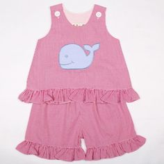 Pink Gingham Check Blue Whale Appliqued Short Set...now only $25.99...http://www.connieskids.com/new-arrivals/pink-gingham-check-blue-whale-appliqued-short-set
