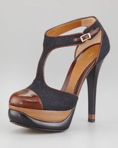 Fendi Bronte Felt Cutout T-Strap Pump. Would be super cute w/a skirt & ankle trouser socks...
