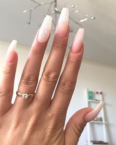Nails acrylic coffin glitter, acrylic nail designs glitter, french manicure a Polygel Nails, Cute Nails, Pretty Nails, Glam Nails, Stiletto Nails, Nails 2016, Nail Nail, Sassy Nails, Gradient Nails