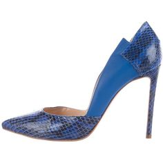 Pre-owned Burak Uyan Snakeskin Pointed-Toe Pumps ($195) ❤ liked on Polyvore featuring shoes, pumps, blue, pointed-toe pumps, snake skin shoes, blue pointed toe pumps, snakeskin pumps and snake skin pumps