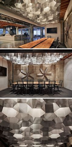 19 Ideas For Using Hexagons In Interior Design And Architecture // Metal hexagon-shaped lights have been used as an artistic feature in this meeting room.