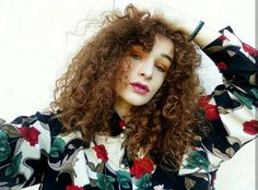 Rosalinda  #colours #joy #natural #redhead #ginger #girl #curly #hair #floral #print #lips #eyes
