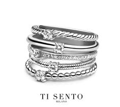 Looks like 5 rings stacked together but is actually one ring...love this funky ring from Ti Sento #LoveTiSento