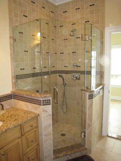 Corner Showers: The Space Saving Shower - Bath Decors Bad Inspiration, Bathroom Inspiration, Bathroom Renos, Bathroom Renovations, Bathroom Ideas, Corner Shower Stalls, Corner Showers, Neo Angle Shower, Small Bathroom With Shower