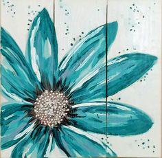 "Turquoise Flower, original art on reclaimed pallet boards. Measures 17"" X 17"". Visit our Etsy shop: ReClaimedPurposed."