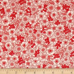 Kaufman London Calling Lawn Sketch Floral Red from @fabricdotcom  Designed for Kaufman Fabrics, this very lightweight fabric is a finely woven, high count combed cotton lawn that is very soft and has an ultra smooth hand. It is perfect for flirty blouses, dresses, shirts, lingerie, tunics, tops and even quilting. Colors include red and white.