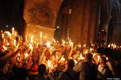Orthodox Easter in Jerusalem, Israel celebrate the Holy Fire ritual at the Church of the Holy Sepulcher. They light the candles lit from the flame that emerged from the tomb believed to be of Jesus Christ.
