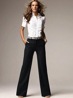 Work Casual--ruffles and wide leg pants