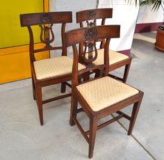 3 sedie direttorio primo '800 faggio con schienale scolpito a lira+ con fiore