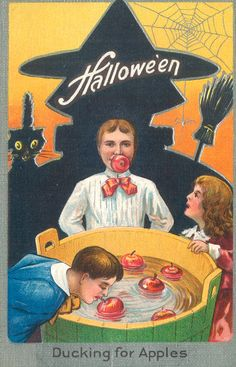 Vintage Halloween Postcards: Ducking for Apples Halloween Postcard