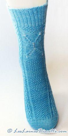 Sock knitting pattern - Frozen Butterflies - Biscotte yarns  - 1