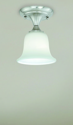 Patriot Lighting® Paige Semi-Flush Ceiling Light in Satin Nickel Finish with Etched White Glass