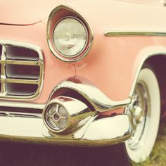 Vintage Pink Car Photograph, Mid Century, Classic Hollywood,... ❤ liked on Polyvore