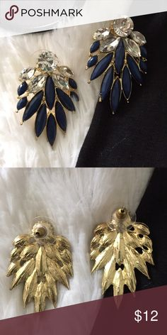 NEW Statement earrings Gold tone earrings with blue ceramic stone-like and clear rhinestones. Purchased at Dillard's, never worn. 📌PRICE FIRM   👛BUNDLE to save Jewelry Earrings