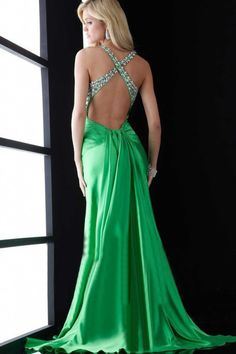 Prom Dresses 2013  Green Sheath/Column  Elastic Satin Cross Back Front Slit - I adore the back.