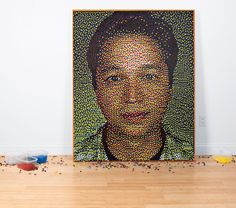 A portrait of Ben Silbermann, co-founder of Pinterest made of...pins, of course!