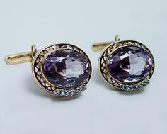 Fine Vintage 18ct Amethyst Diamond Cufflinks 18K Gold Heavy 13.9gr from luvmydiamonds on Ruby Lane