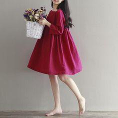 2016 otoño nueva vestido de algodón vestido de Mori Departamento de Arte pequeña…