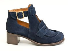 CHIE MIHARA - The Umar suede loafer booty in navy $499 Contact BLU'S at shop@blus.com to order