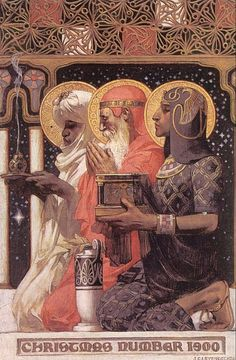 St Gaspar (or Caspar/Jasper), St Melchior, and St Balthasar. Three Wise Men, by JC Leyendecker, Art And Illustration, American Illustration, Illustrations, Christmas Illustration, Jc Leyendecker, Three Wise Men, Norman Rockwell, Epiphany, Grafik Design