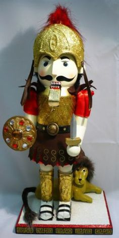 "Gladiator w Lion Nutcracker by Bombay Co 2007 15""T New Wood Fabric Metal 