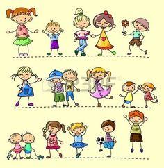 bambini stilizzati: Imposta bambini felici Vettoriali