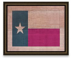 Texas State Flag on Antique Burlap | Cabin Classics | One Kings Lane