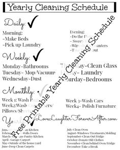 Who is ready to get their cleaning schedule organized in the new year? Here is a FREE printable yearly cleaning schedule to get you started! Deep Cleaning Tips, House Cleaning Tips, Car Cleaning, Spring Cleaning, Cleaning Hacks, Cleaning Schedules, Weekly Cleaning, Cleaning Equipment, Wash Pillows