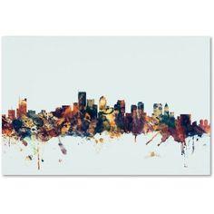 Trademark Fine Art Boston MA Skyline Blue Canvas Art by Michael Tompsett, Size: 30 x 47, Multicolor