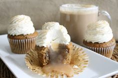 As promised the recipe for the Caramel Macchiato Cupcakes!  The Vanilla Coffee cake was absolutely perfect and the light and fluffy Van...