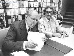 """El escritor Arturo Uslar Pietri y el artista plástico Jesús Soto firman libros """"Escrituras"""" y """"Lanzas Coloradas"""" al público en la Biblioteca Ayacucho. Caracas, 08-12-1979 (TOM GRILLO / ARCHIVO EL NACIONAL)"""
