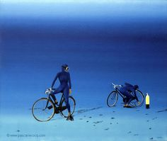 "OLYMPIC GAMES 2012, July 29th: Cycling Road Women's Race  pic: ""CREVE""  - I've got a flat - oil on canvas by Pascal Lecocq, The Painter of Blue ®, 18""x22"" 55 x 46cm, 1997, lec467, private collection Ferney, France. © www.pascal-lecocq.com."