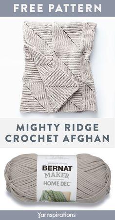 Free Crochet Pattern | Bernat Maker Home Dec Mighty Ridge Crochet Afghan | #yarnspirations #freecrochetpattern #bernatmakerhomedec #bernat #caron #patons #lilysugarncream #redheart Crochet Quilt, Afghan Crochet Patterns, Crochet Home, Knit Or Crochet, Crochet Crafts, Crochet Stitches, Crochet Baby, Free Crochet, Sewing Crafts