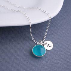 Blue Chalcedony Necklace Personalized Gemstone by georgiedesigns