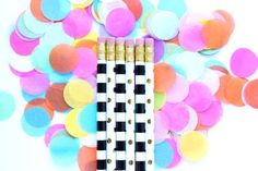 Dots and Stripes Pencil Set, Set of 6 Pencils, Personalized Pencils, Custom Pencils, Engraved Pencils, office supplies, Stocking Stuffer