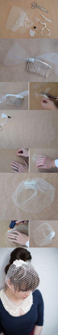 """Cómo hacer un """"velo jaula"""" de novia, súper chic / http://onefabday.com/ Supernatural"""