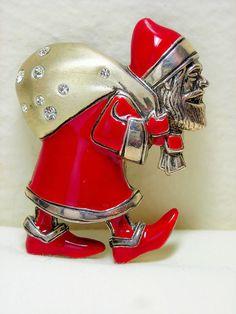 Metropolitan Museum of Art MMA Sterling Silver Santa Brooch Pin Pendant Crystal #MetropolitanMuseumofArt