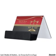 #Sold #Law | Scales of Justice | Red, Black & Gold Desk #Business #Card #Holder