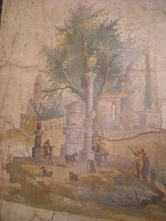 Landscape from the villa of Agrippa Postumus (20 BC - AD 10) at Boscotrecase, nearby Pompeii - Naples, Archaeological Museum