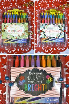 Free printable holiday gift tags! Download these free Christmas tags and attach to a pack of colorful Pilot Pens--perfect for teacher gifts! DoYouG2 AD