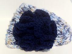 crochet headband earwarmer Knitted Winter Headband in Blue and White crochet flower headband. $14.95, via Etsy.
