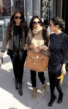 Kim Kardashian and a tan Birkin